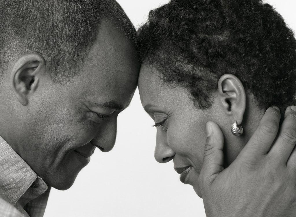Black and White Portrait of African American Husband Wife on white background. Staying present and practicing mindfulness in Oregon is easier when you can focus on what is important and what is in front of you. Get help for anxiety treatment with online therapy in Oregon here.