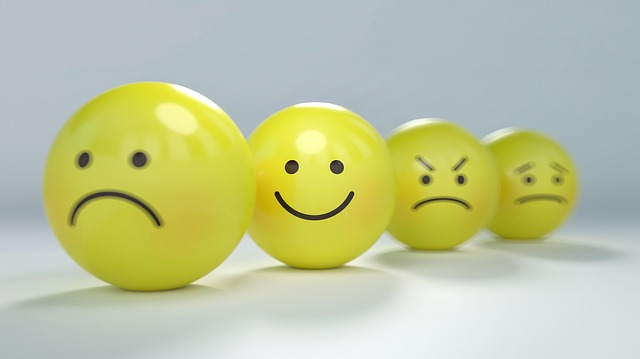 Yellow bouncing balls with different faces on them. The first is sad, the second happy, third angry and the fourth concerned. You might be needing counseling for lament, anxiety, depression or other topics a Christian counselor in Clackamas, OR can help with. Get Christian Counseling in Hillsboro, OR here with online therapy in Oregon.